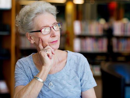 Portrait of elderly lady thinking something