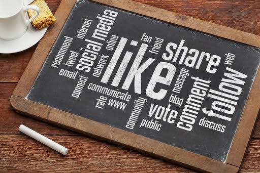 social media concept - like, share, follow word cloud on a vintage blackboard with a cup of coffee